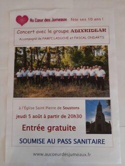Concert du Coeur ADIXKIDEAK dans l'église de Soustons le 5 Août 2021